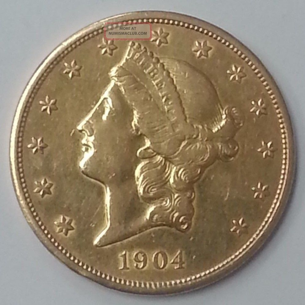 1904 20 American Liberty Head Double Eagle Gold Coin