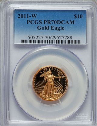 2011 - W $10 Quarter - Ounce Gold Eagle Pr70 Deep Cameo Pcgs - Gold Is Love Give Gold photo