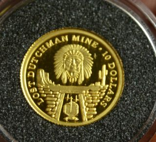 2006 Cook Islands Gold Proof $10 Dollars Coin The Lost Dutchman Gold Mine photo