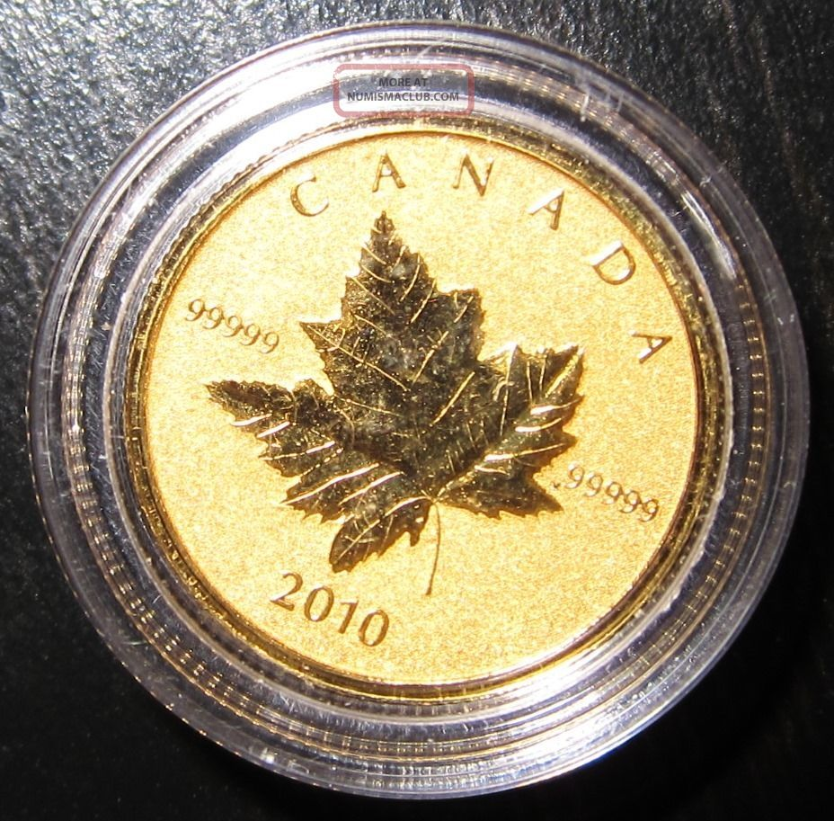 2010 Canadian Piedfort Gold Maple Leaf 10 Uncirculated