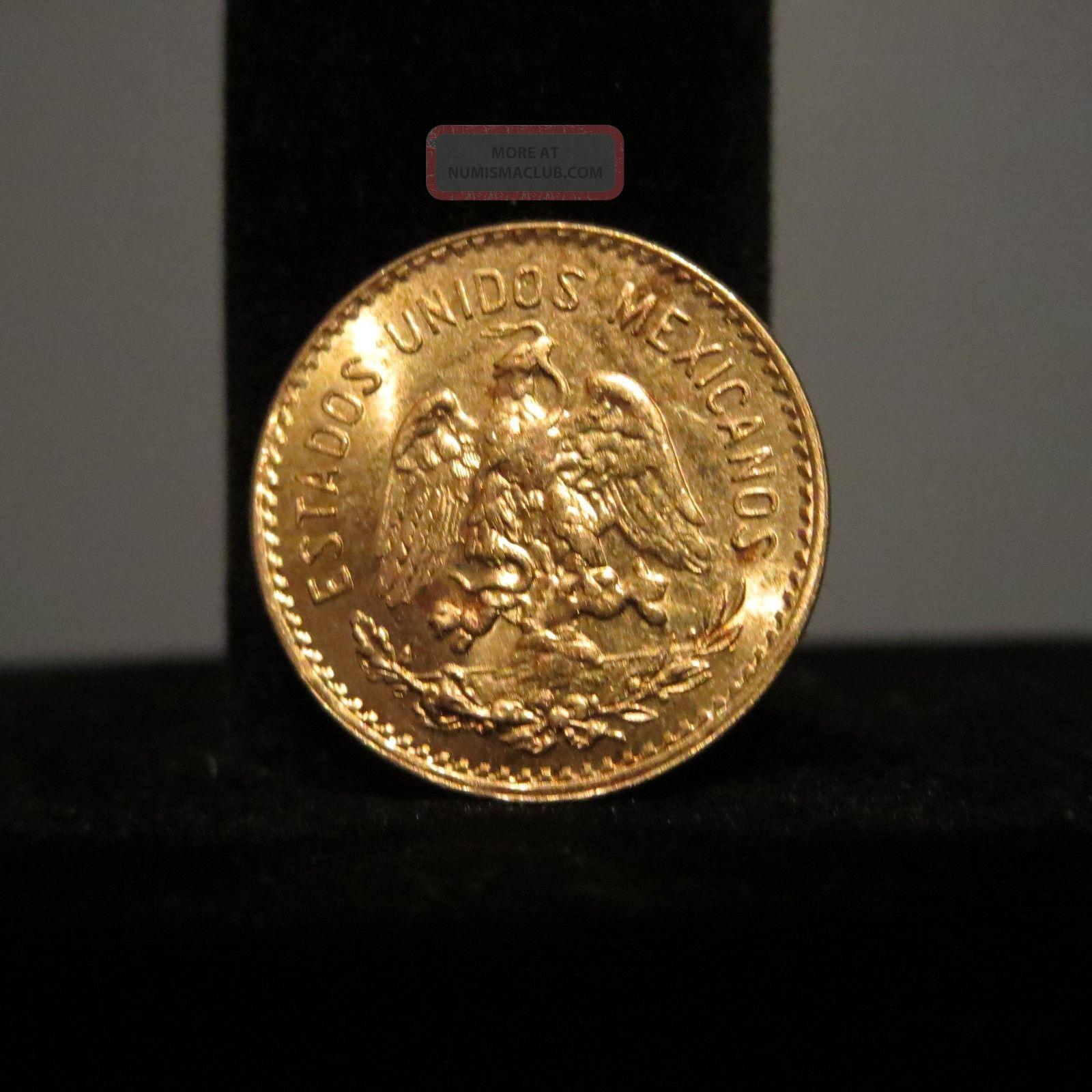 1955 Mexico Gold Cinco 5 Pesos Coin 19mm 4g Vintage
