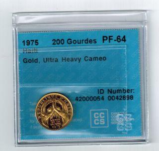 Haiti 1975 Gold Coin 200 Gourdes Pf - 64 International Womans Year Limited Edition photo