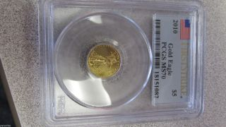 2010 Us American Gold Eagle 5.  00 Coin Pcgs First Strike Graded Ms70 Perfect photo