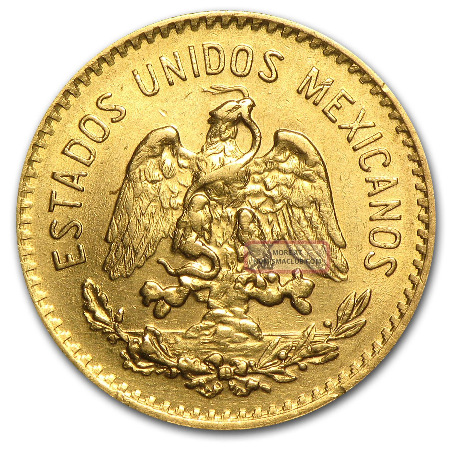 1920 Mexican Gold 5 Pesos Coin Au Bu Sku 34987