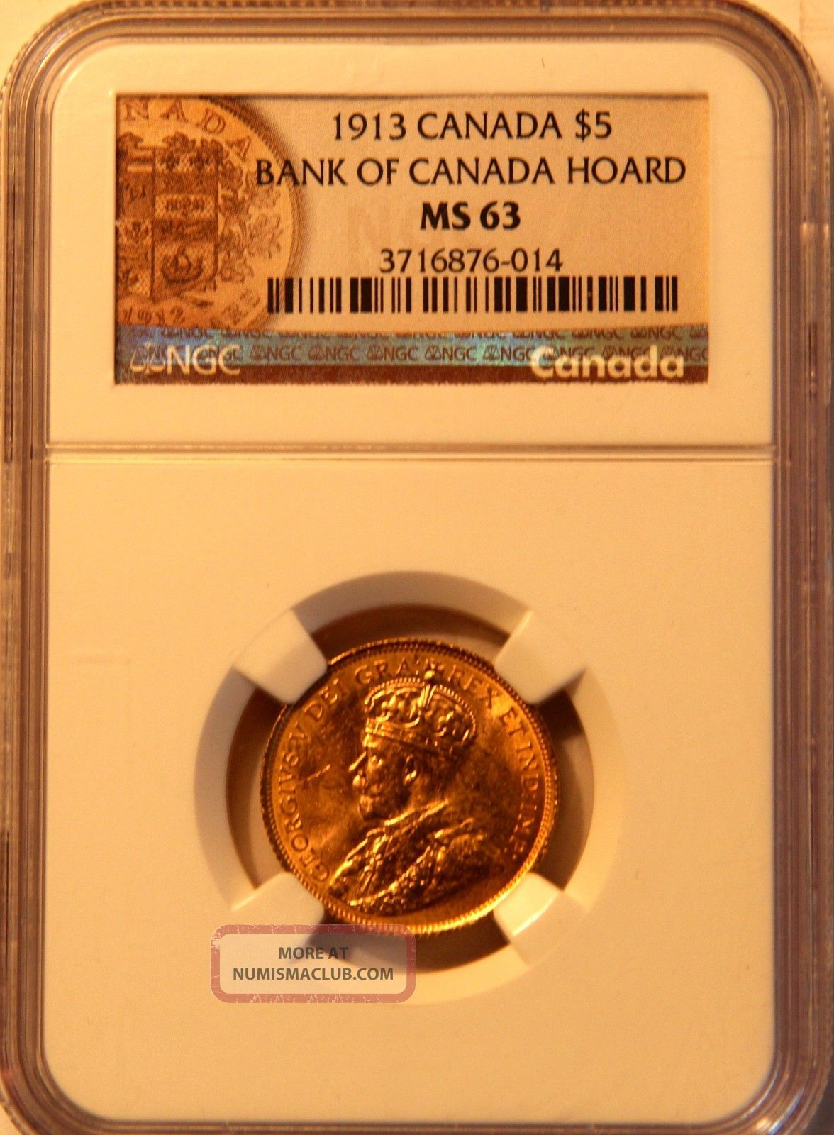 1913 $5 Bank Of Canada Gold Coin Ngc Ms 63 & Gold photo