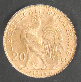 1914 French Gold 20 Franc Rooster Brilliant Uncirculated - A Great Collector Coin photo