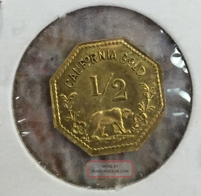 1852 California Gold Coin Half Dollar Fractional Token