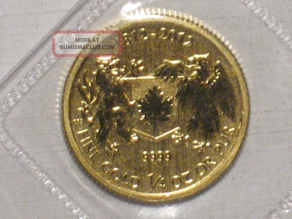 2012 Canadian Gold Maple Leaf War Of 1812 1 4 Ounce 9999
