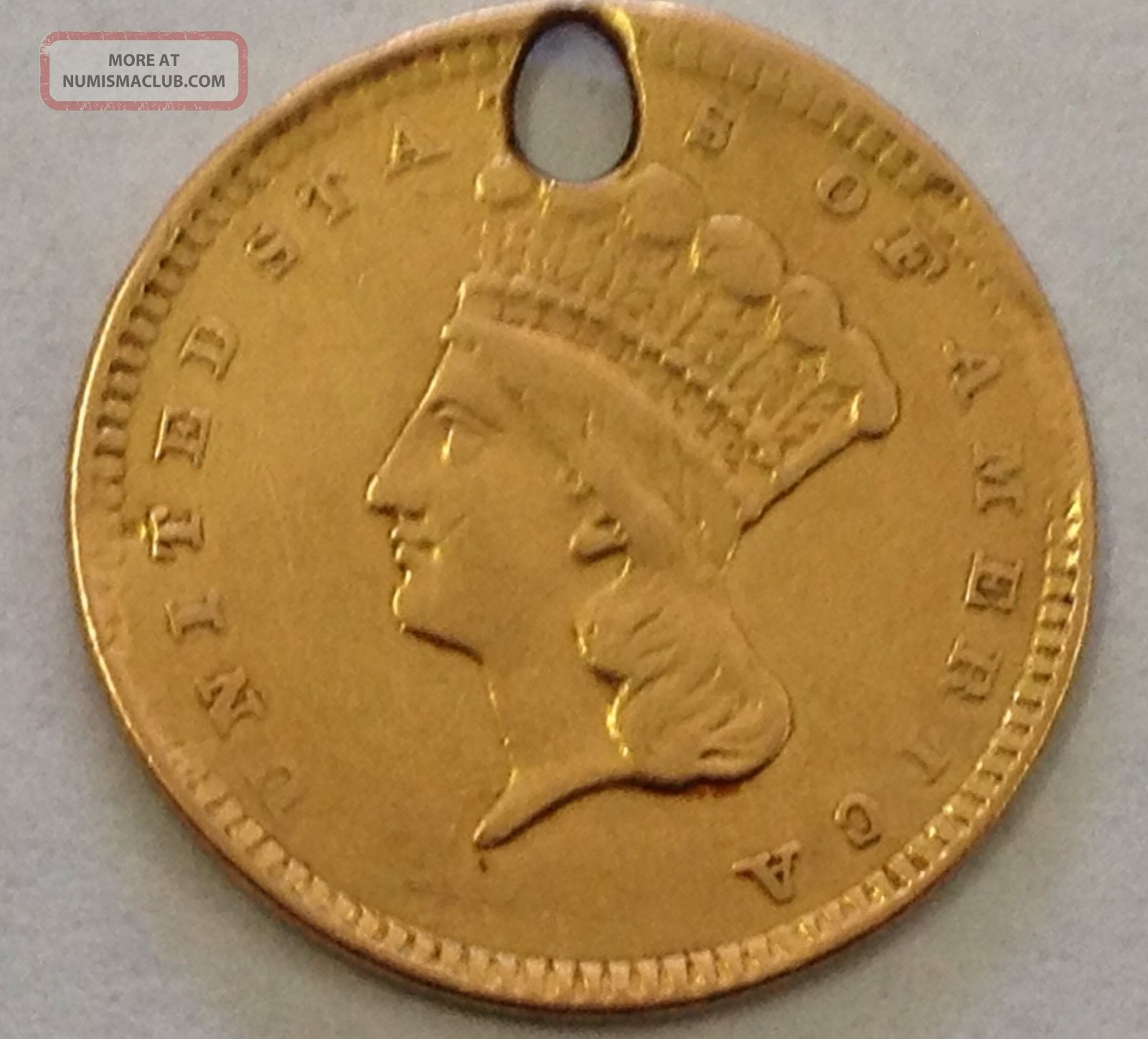 1857 One Dollar Gold Indian Princess Head Coin Ex Jewelry Low Opening Bid