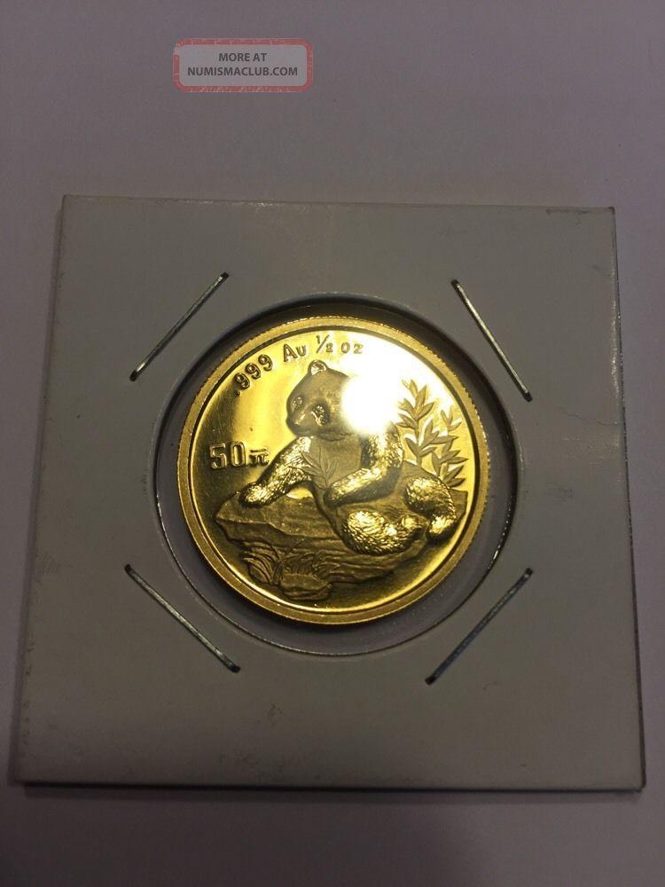 1998 1 2 Ounce Gold Panda 999 Pure Gold Coin Bullion 50