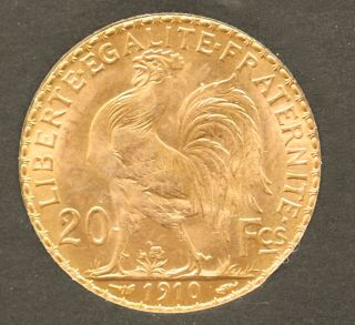 1910 French Gold 20 Franc Rooster Brilliant Uncirculated - A Great Collector Coin photo