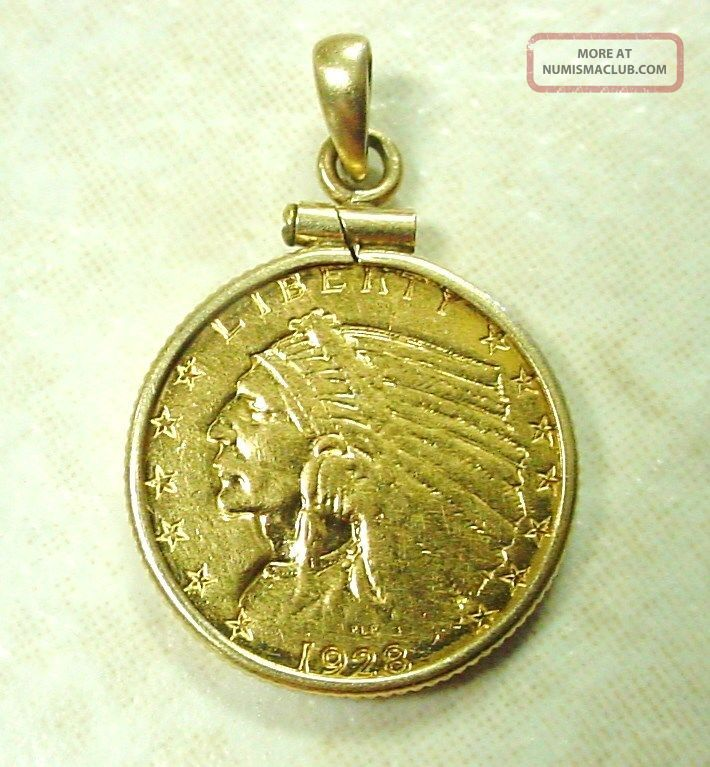 1928 Indian Head 2 1 2 Dollar Gold Coin With 14k Gold Bezel Pendant 5 3 Grams
