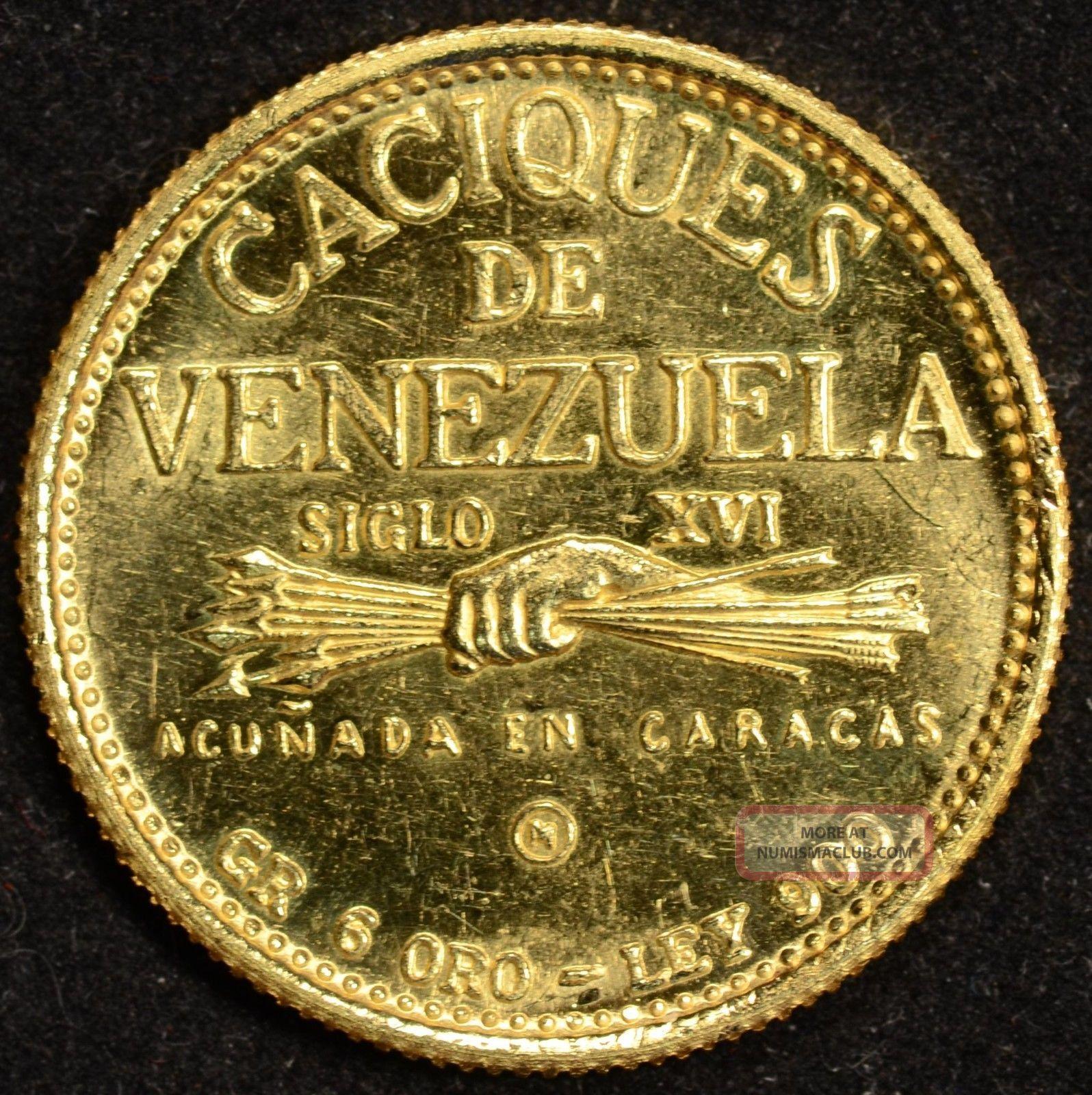 1955 1960 Venezuela Cacique Tamanaco Gold Coin 1736 Oz Of Gold Very Creepy