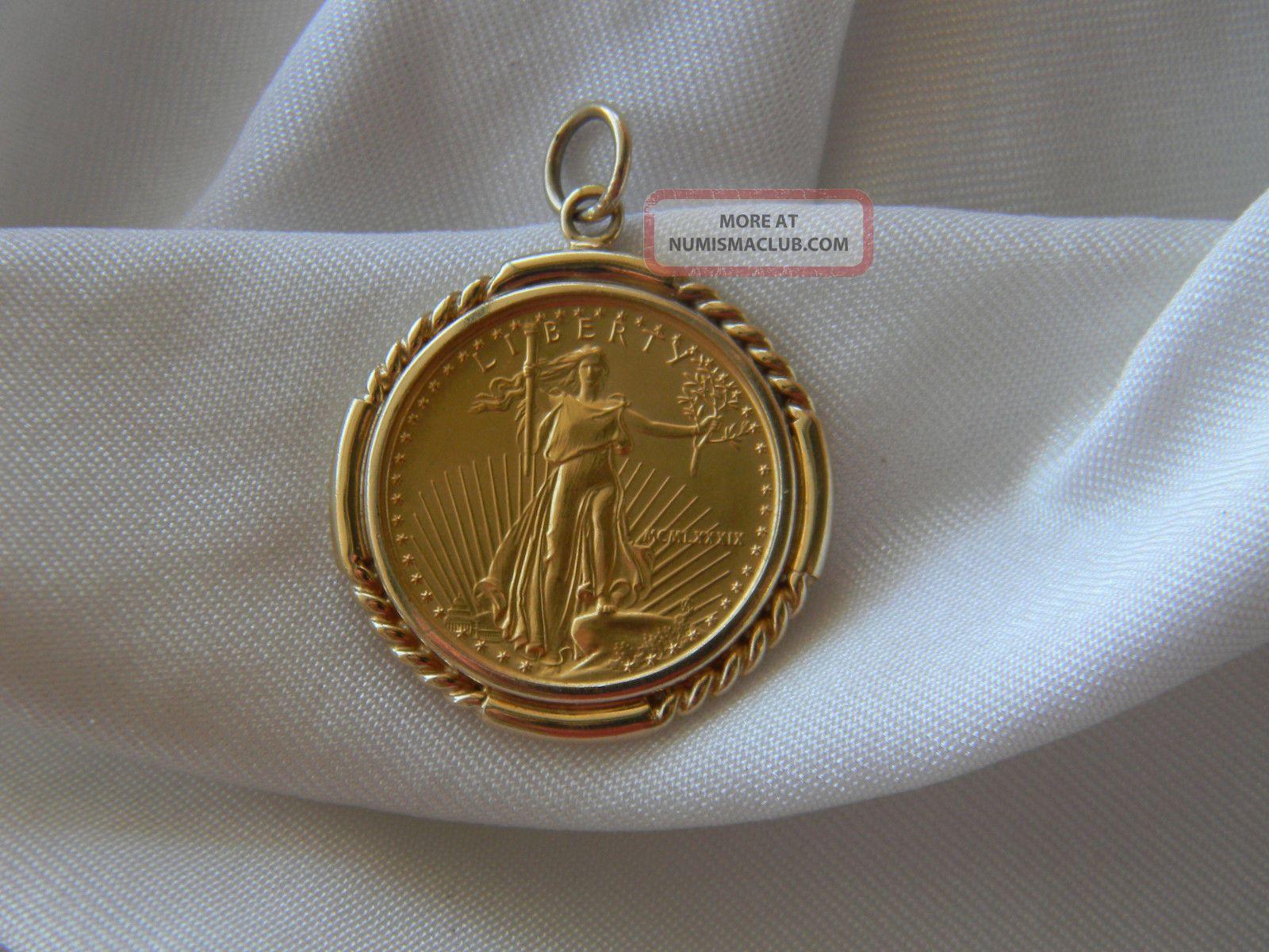 Fine Gold Liberty Walking 1 4 Ounce Eagle 1989 10 00 In 14k Pendant Bezel 12gms