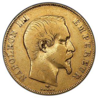 1858 - A 50 Francs Napoleon Iii Gold Coin Km.  785.  1 Very Fine photo