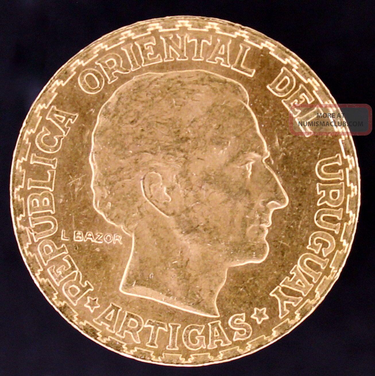 1930 Uruguay 5 Peso Gold Coin.  2501 Troy Oz Actual Gold Weight Agw - Artigas South America photo