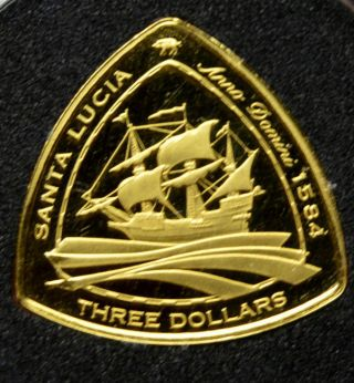 Santa Lucia 2007 Gold Proof 3$ Bermuda Triangle Shipwreck Coin Rare photo