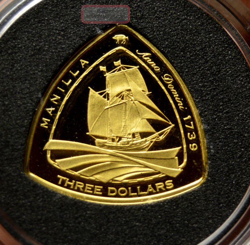 Manilla 2007 Gold Proof 3$ Bermuda Triangle Shipwreck Coin Rare South America photo