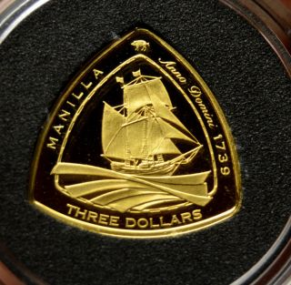 Manilla 2007 Gold Proof 3$ Bermuda Triangle Shipwreck Coin Rare photo