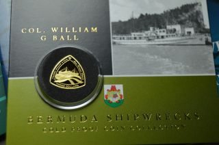 Colonel William G Ball 2007 Gold Proof 3$ Bermuda Triangle Shipwreck Coin Rare photo