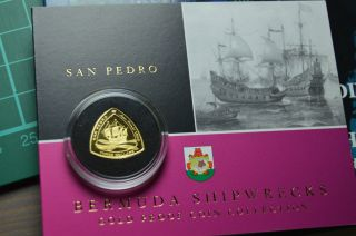 San Pedro 2007 Gold Proof 3$ Bermuda Triangle Shipwreck Coin Rare photo