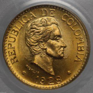 1928 Colombia Gold 5 Peso Simon Bolivar Medellin Km 204 Pcgs Ms 64 0925589b photo