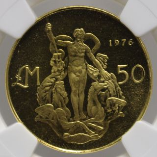 1976 Malta Gold 50 Pound Europe Commemorative Ngc Ms 67 01064746b photo
