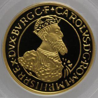 1987 Belgium Gold 50 Ecu Charles V Km 167 Pcgs Pr 68 Dcam 0.  5 Oz Agw 0946794b photo