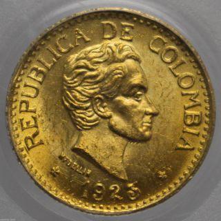 1925 Colombia Gold 5 Peso Simon Bolivar Medellin Km 204 Pcgs Ms 64 0925583b photo
