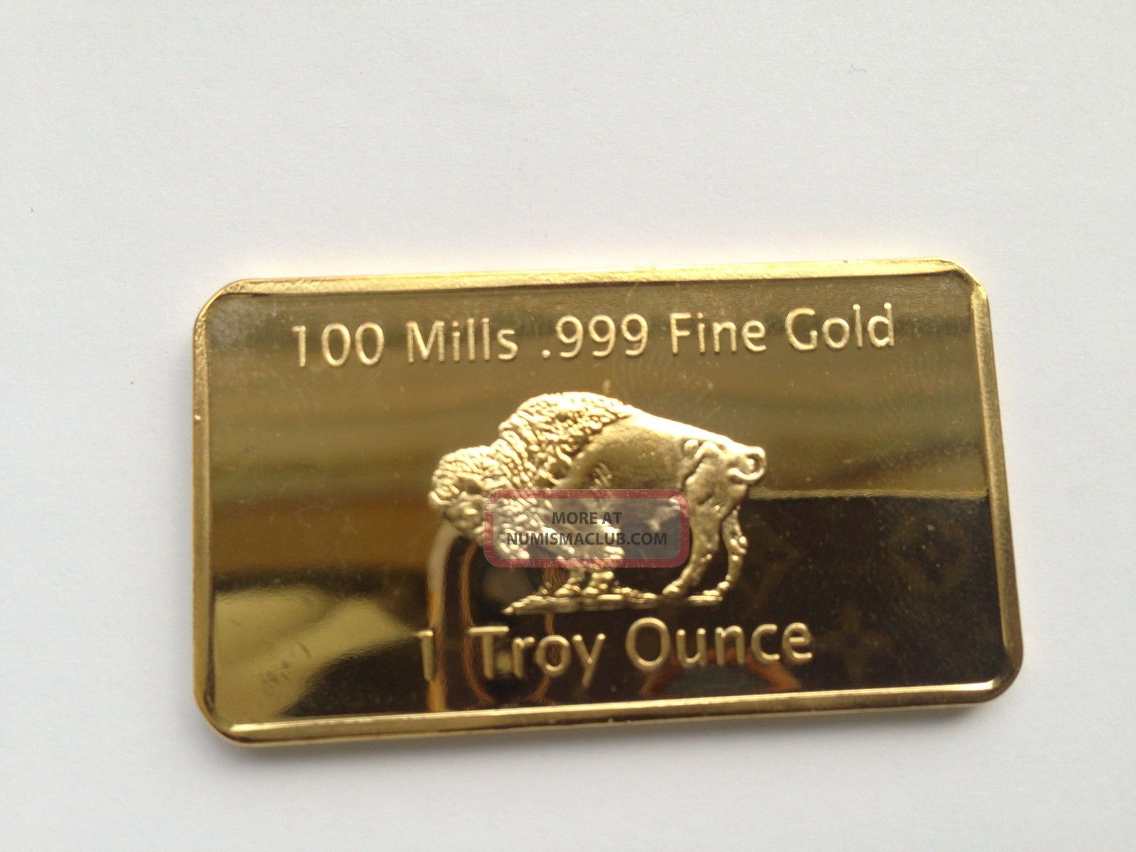 Gold Plated Bar 1 Ounce American Buffalo 100 Mills