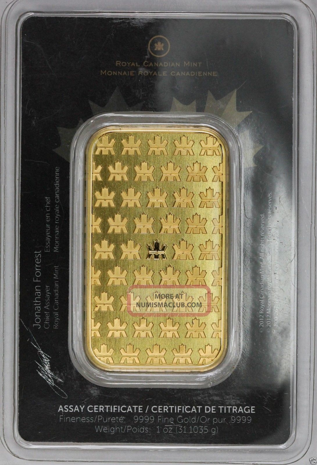 Royal Canadian 1 Troy Oz 9999 Fine Gold Bar In Assay Card