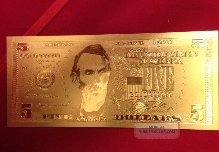 24k Gold 5 Bill Bank Note W 1 Gram 999 Pure Silver Bar