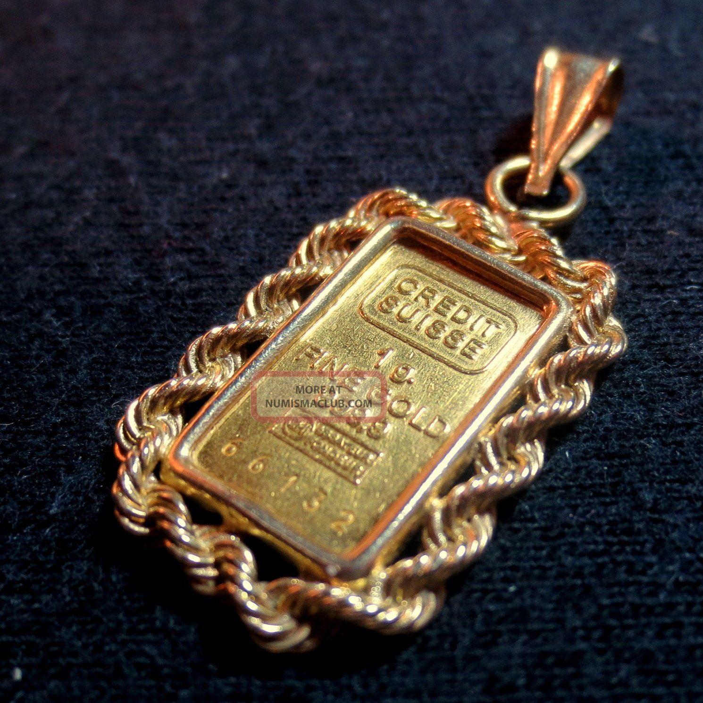 1 Gram Credit Suisse 999 Gold Bar In 14k Gold Rope Bezel