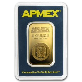Apmex 1 Oz Gold Bar.  9999au photo