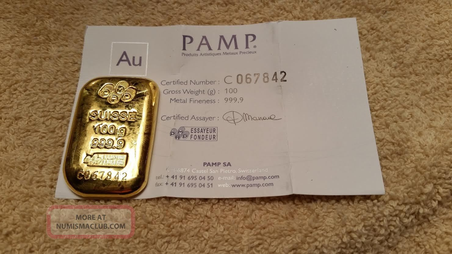 100 Gram Pamp Suisse Gold Bar W Assay