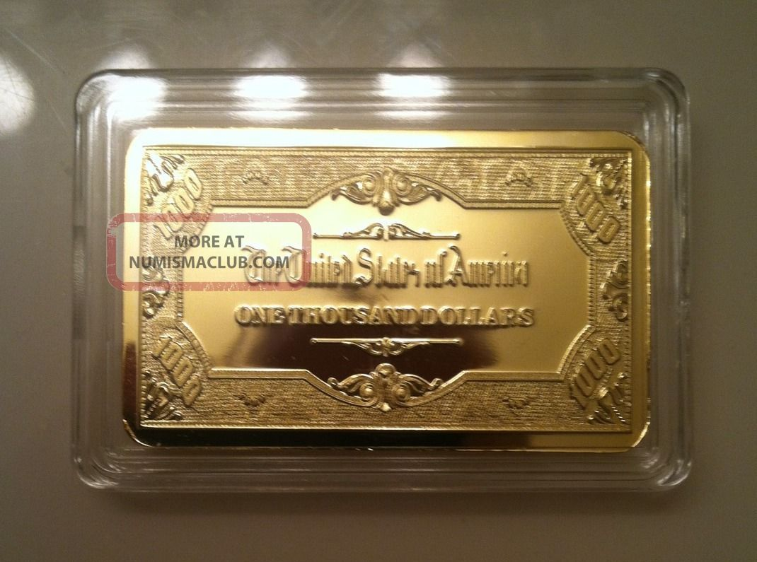 Gold Bar 1 Oz 1000 Bill 100 Mills 999 24k 1 Ounce