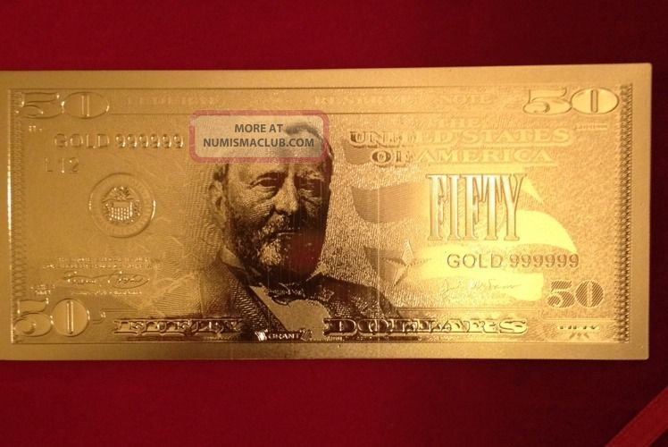 24k Gold 50 Bill Banknote 1 Gram 999 Pure Silver Bar And