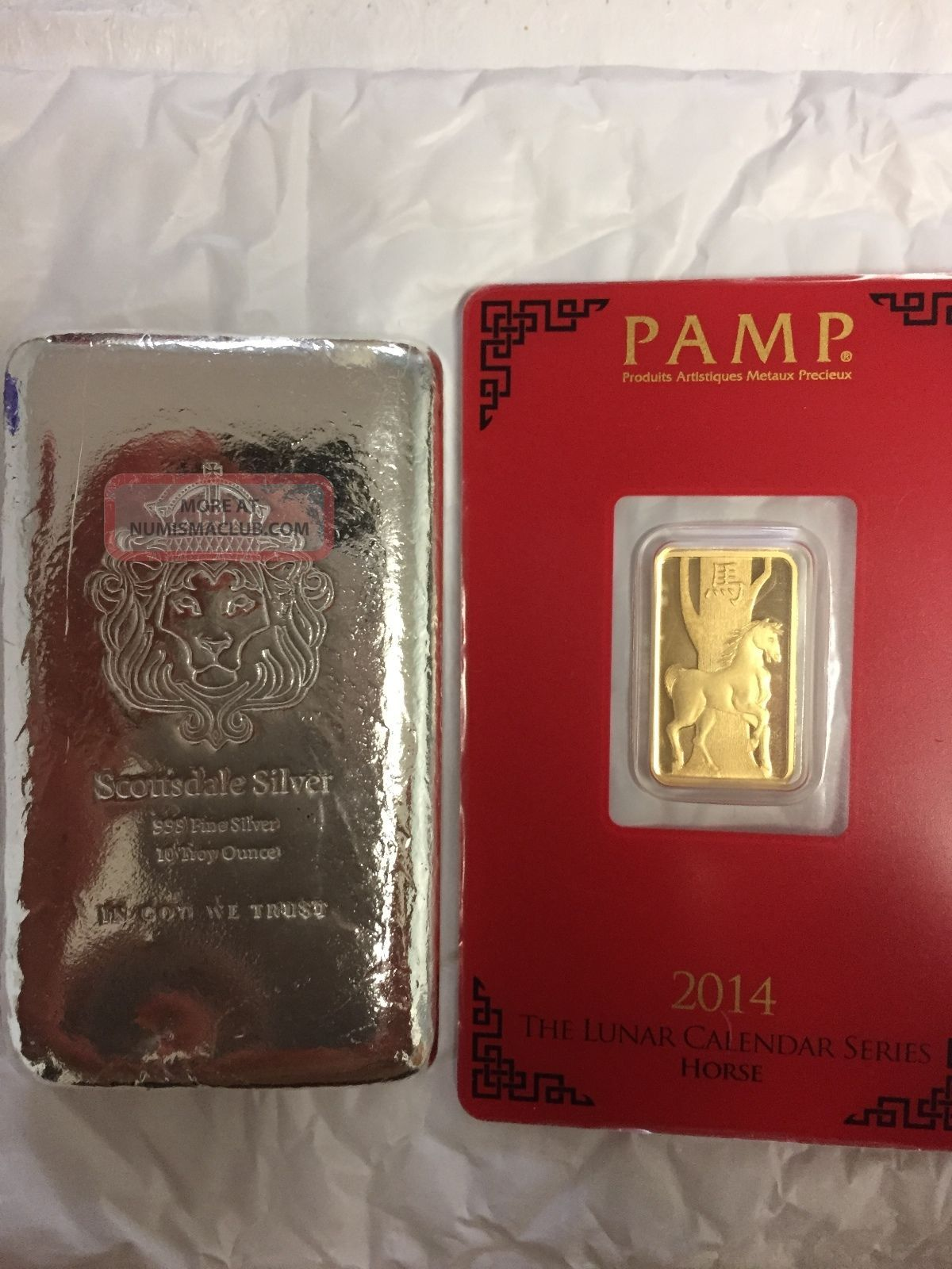 2014 Pamp Suisse Year Of Horse Gold Bar 10oz Scottsdale