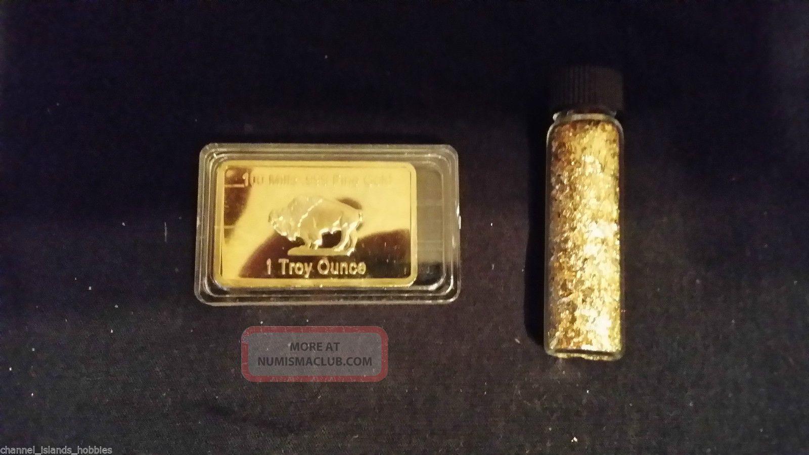 Gold Bar 1 Oz American Buffalo 100 Mills 999 24k 1 Ounce