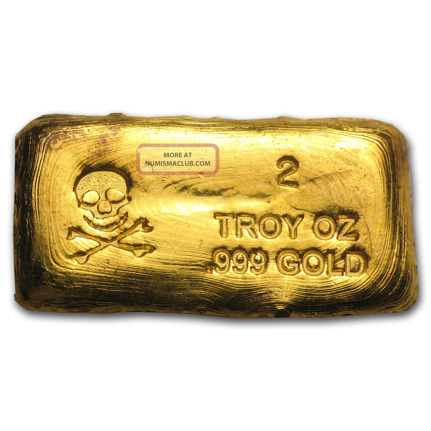 2 oz skull amp bones gold bar hand poured gold bar sku 79416