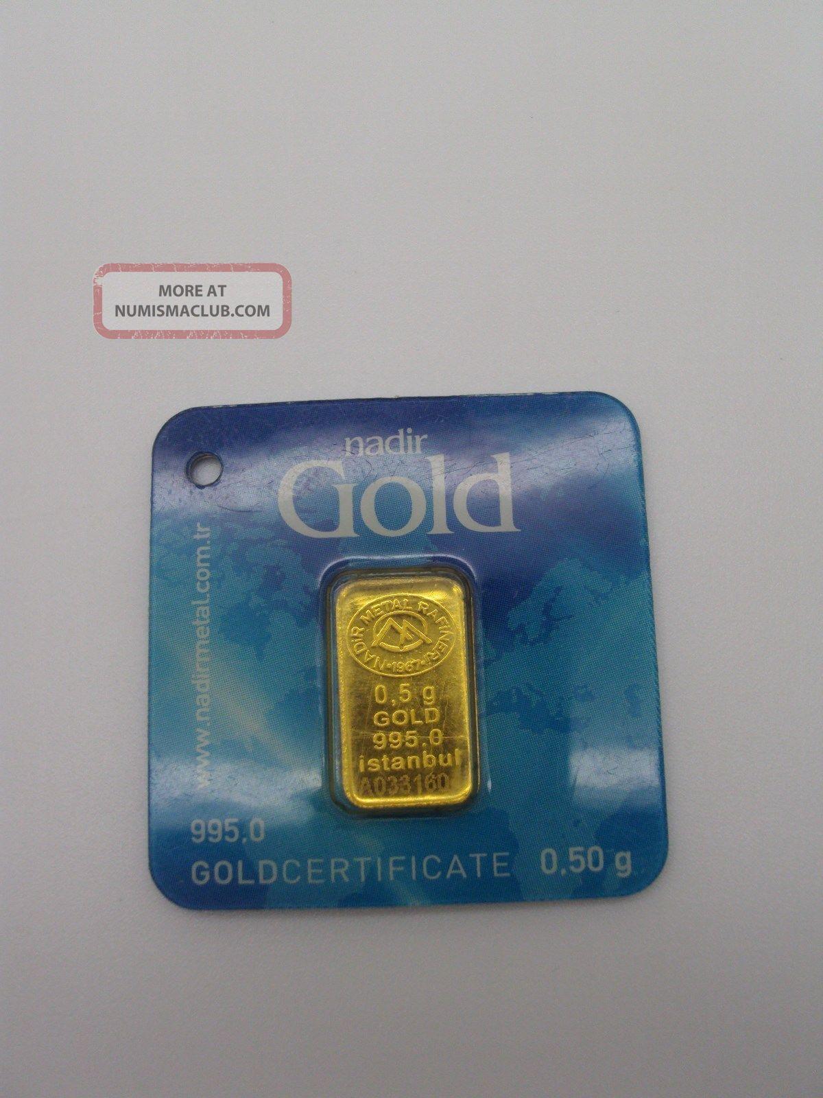 Fine Gold 1 2 Gram 995 1000 24 K Nadi̇r Gold 0 50 Gram Lmba Certificate