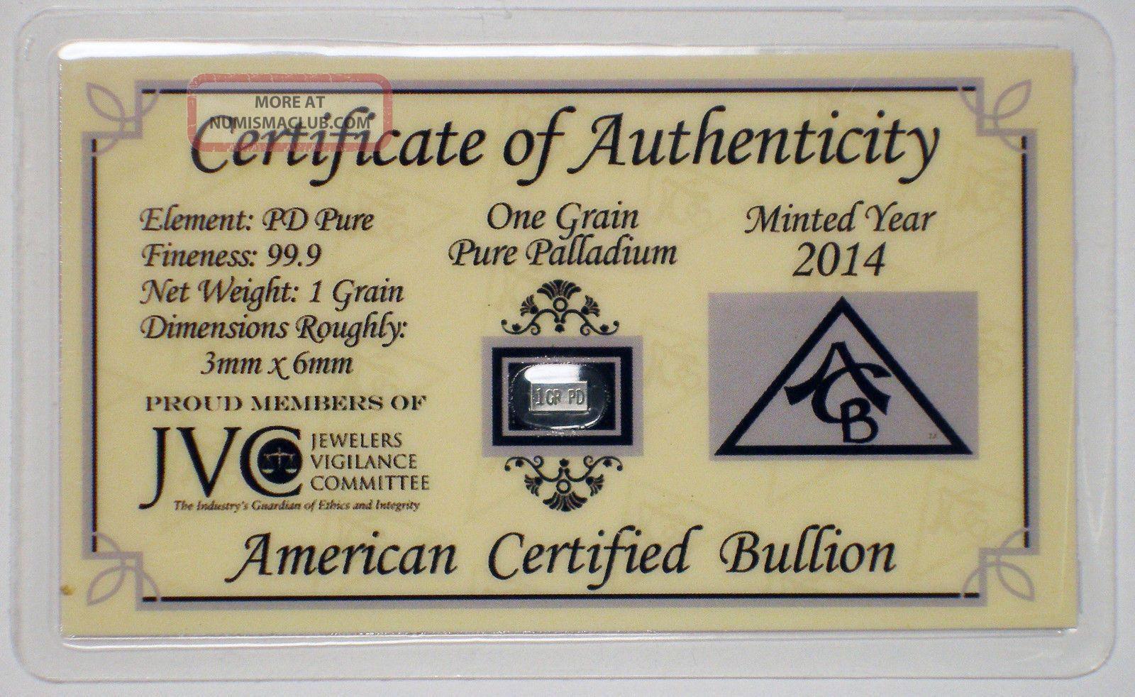 2014 One Grain Pure Palladium With Bullion photo