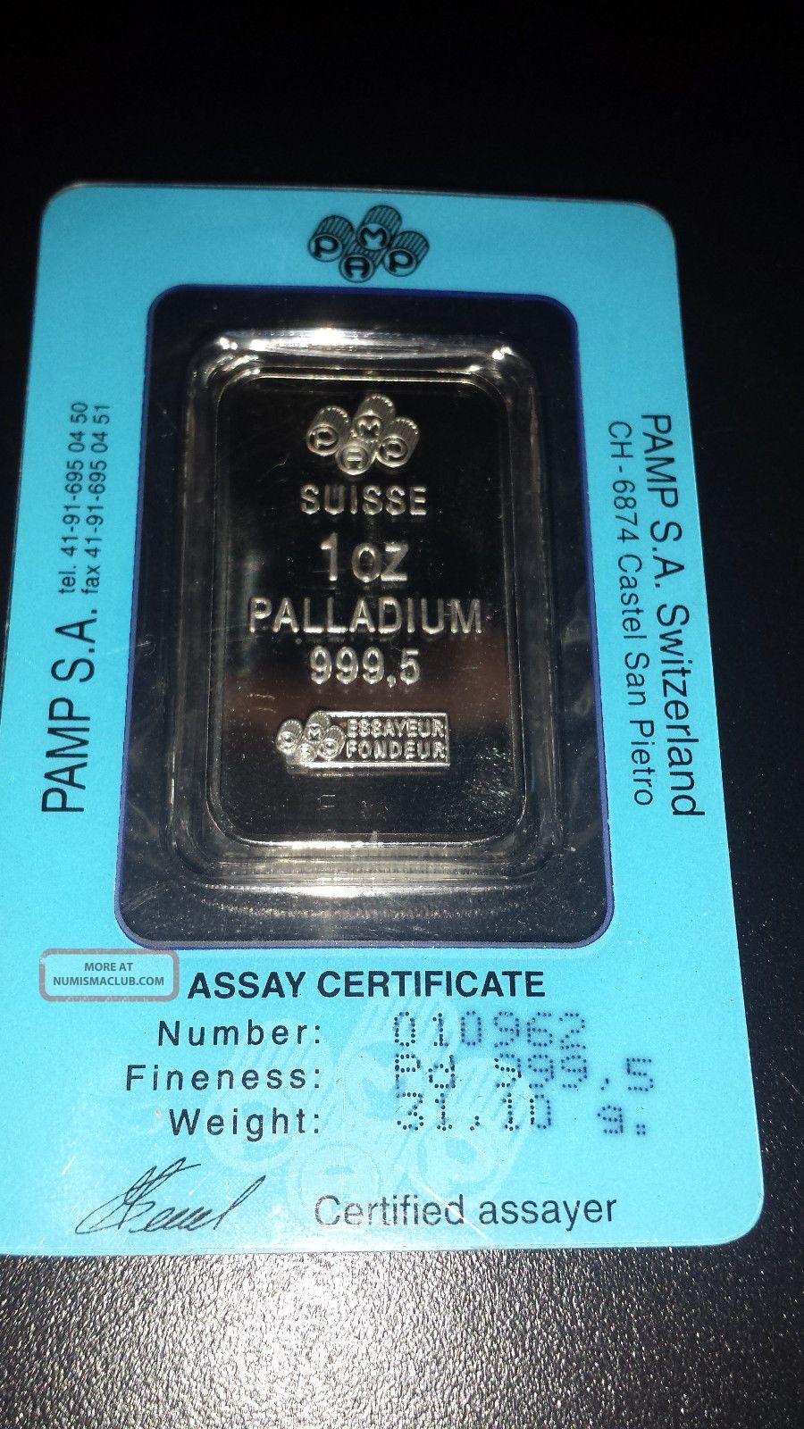 1 Ounce Oz Pamp Suisse Palladium Bar (w/ Assay).  9995,  Fine Pure Bullion photo