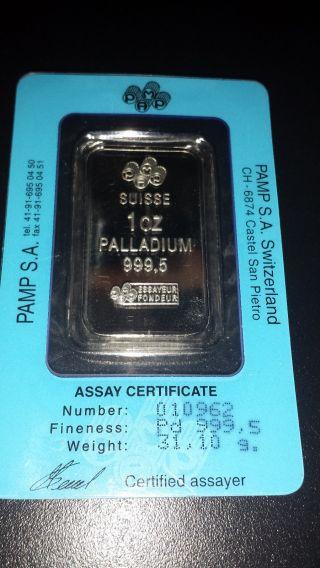 1 Ounce Oz Pamp Suisse Palladium Bar (w/ Assay).  9995,  Fine Pure photo
