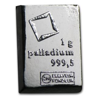 1 Gram Valcambi Palladium Fractional Bar - No Assay Card (encapsulated) photo