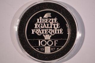 1987 France Palladium 100 Francs General La Fayette Proof photo
