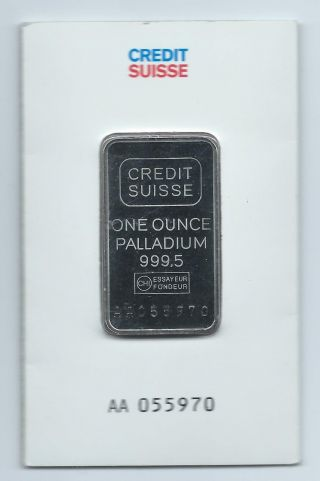 Credit Suisse Palladium 1 Troy Ounce.  9995 Fine Bar In Assay Card photo