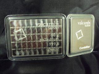 1 Gram Valcambi Suisse.  999 Fine Palladium Bullion Bar Single photo