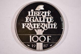 1987 France Palladium 100 Francs General La Fayette photo