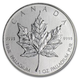 1 Oz Palladium Canadian Maple Leaf Coin - Random Year Coin - Sku 32457 photo